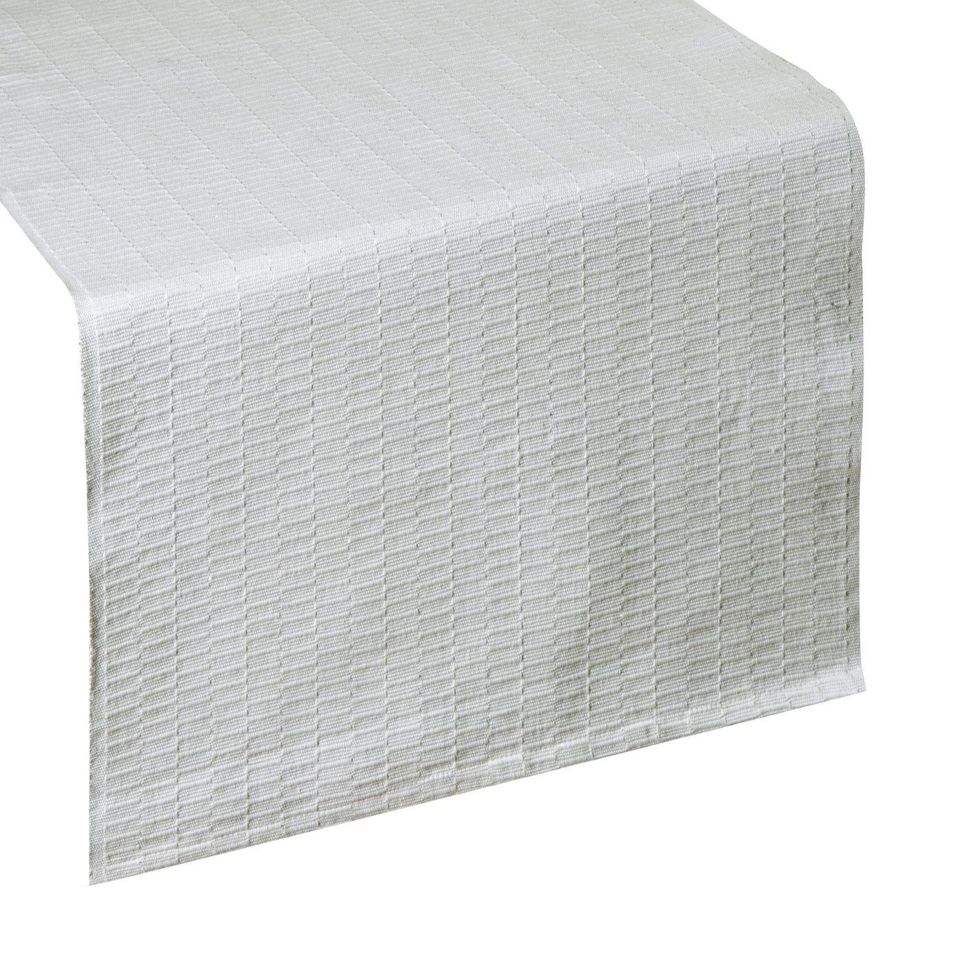 Biały bieżnik z bawełny i lureksu obrus 40x140 cm