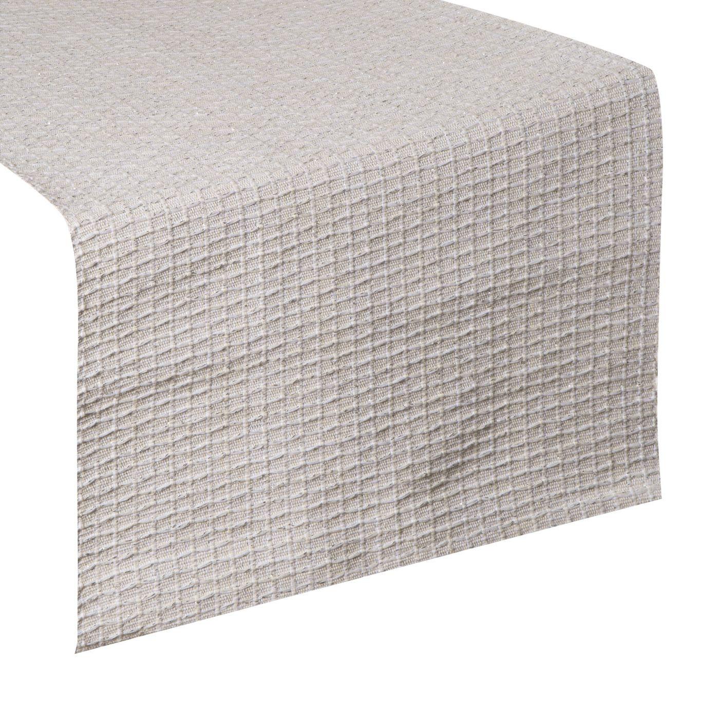 Biały bawełniany bieżnik tłoczony 40x140 cm
