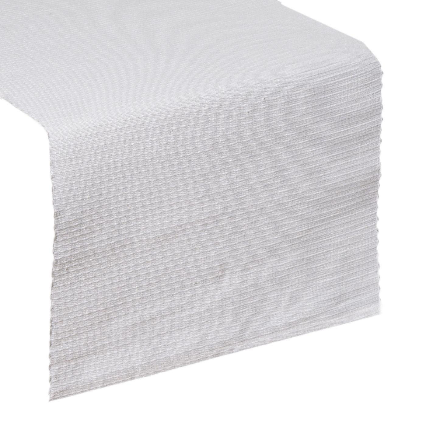 Biały bieżnik na stół strukturalny w paski bawełniany 40x140