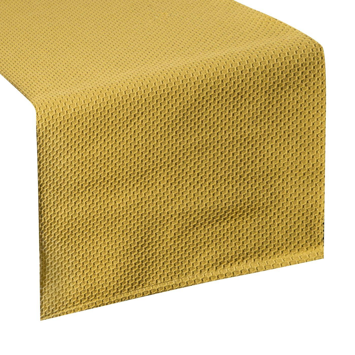 Musztardowy bieżnik na stół bawełniany 40x140 cm