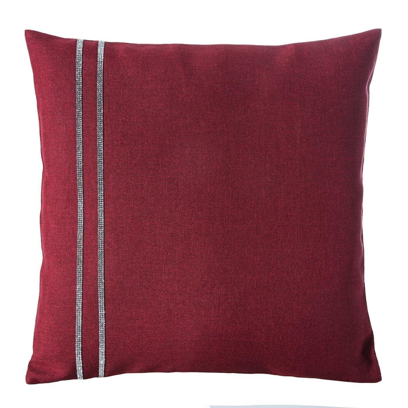 Czerwona POSZEWKA DEKORACYJNA z pasem cyrkonii 40x40 cm
