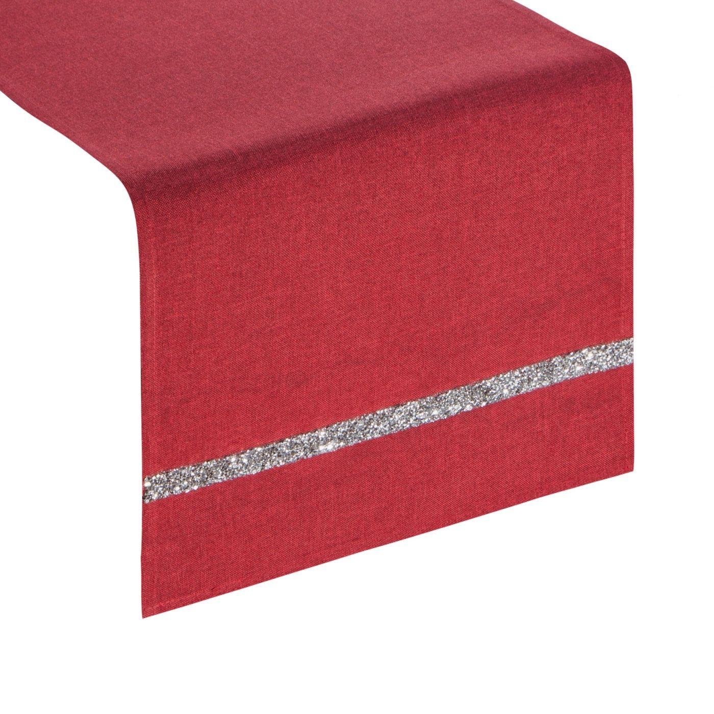 Czerwony bieżnik na stół do jadalni cekiny 33x180 cm