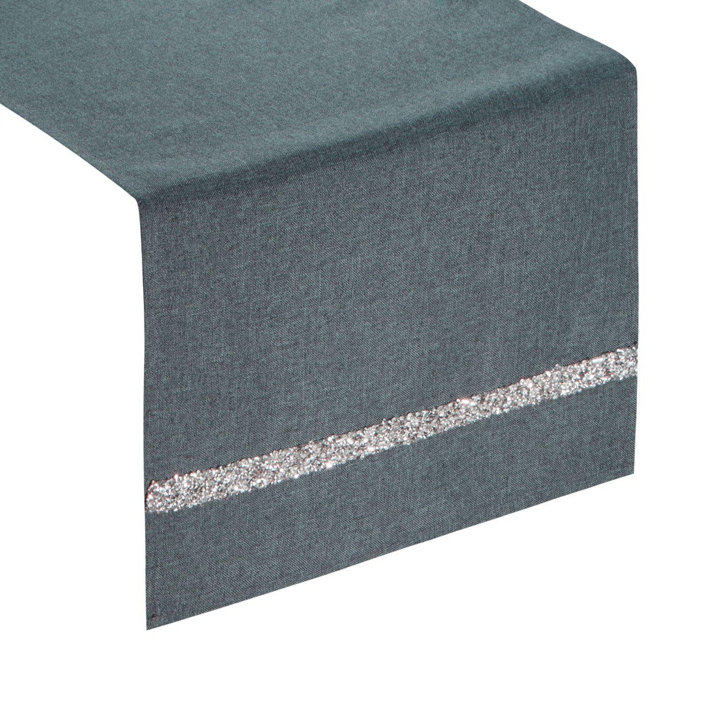 Grafitowy bieżnik na stół do jadalni cekiny 33x180 cm