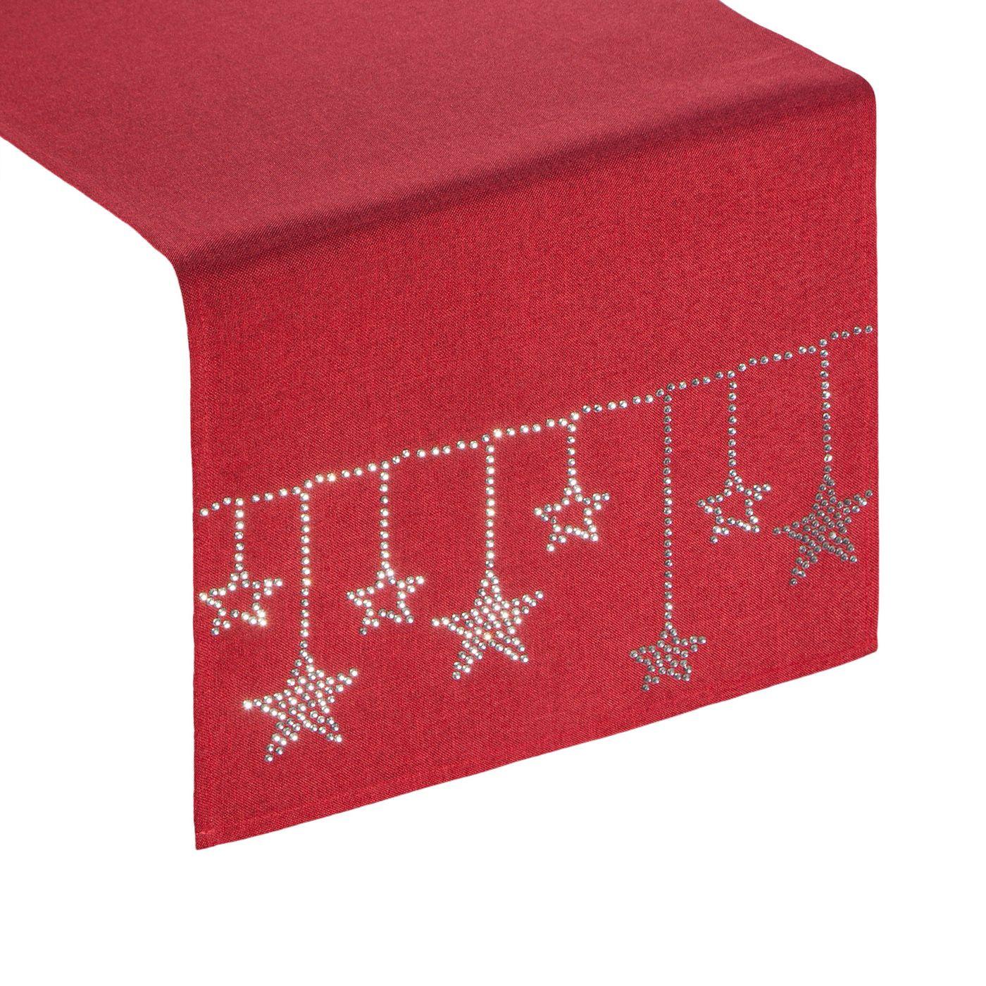 Czerwony świąteczny bieżnik z cyrkoniami 33x140 cm
