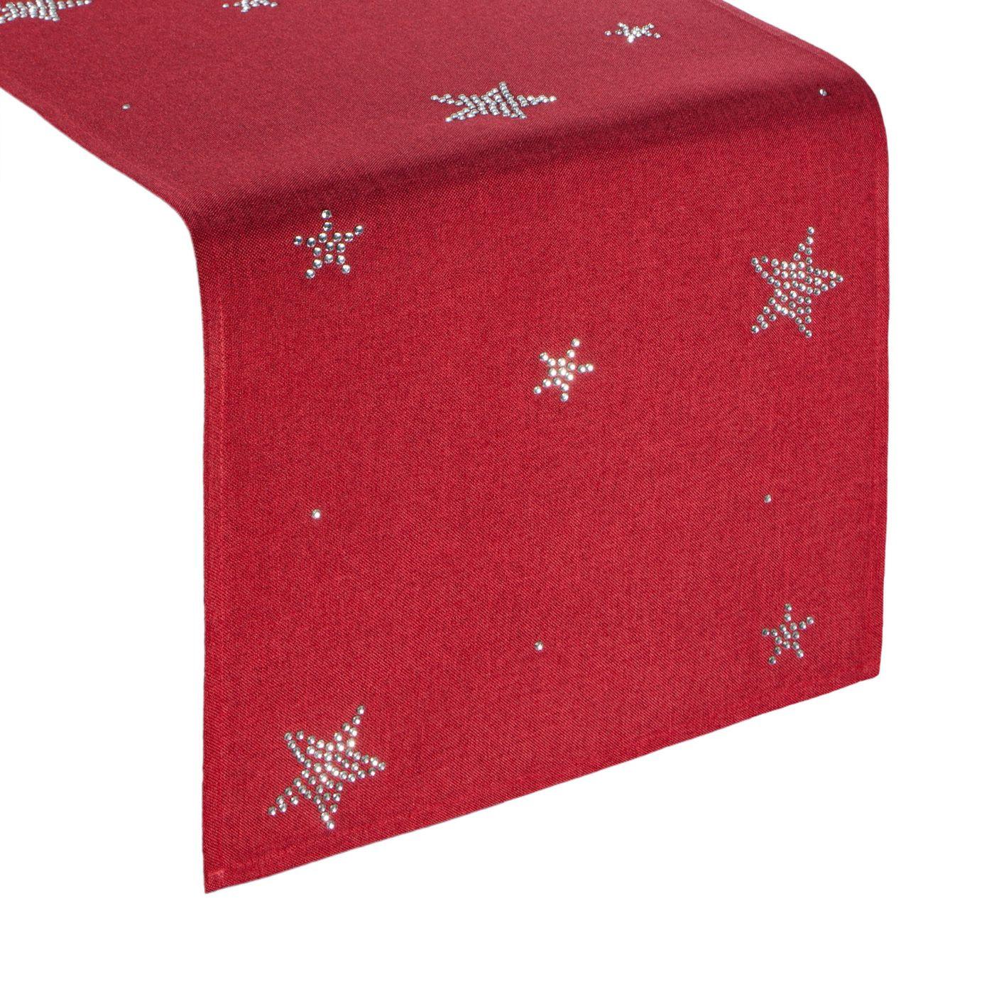 Czerwony świąteczny bieżnik w gwiazdki 33x140 cm