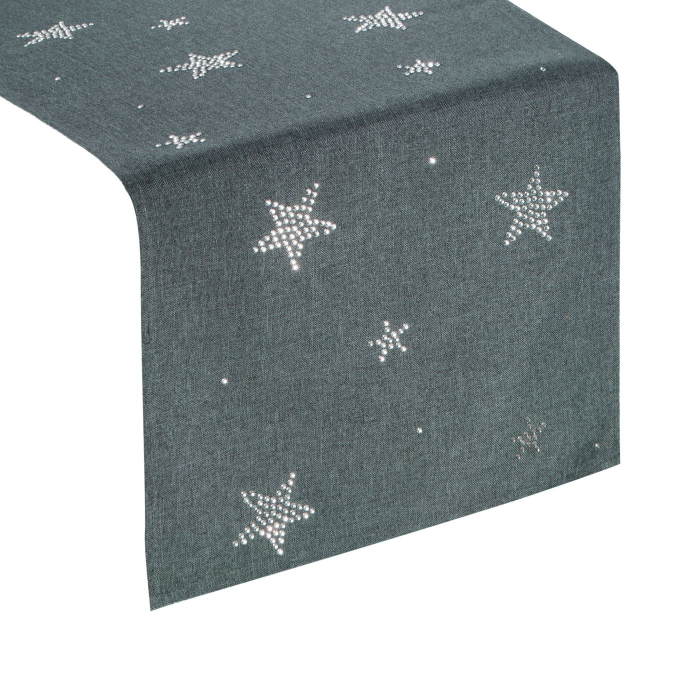 Grafitowy świąteczny bieżnik w gwiazdki 33x140 cm
