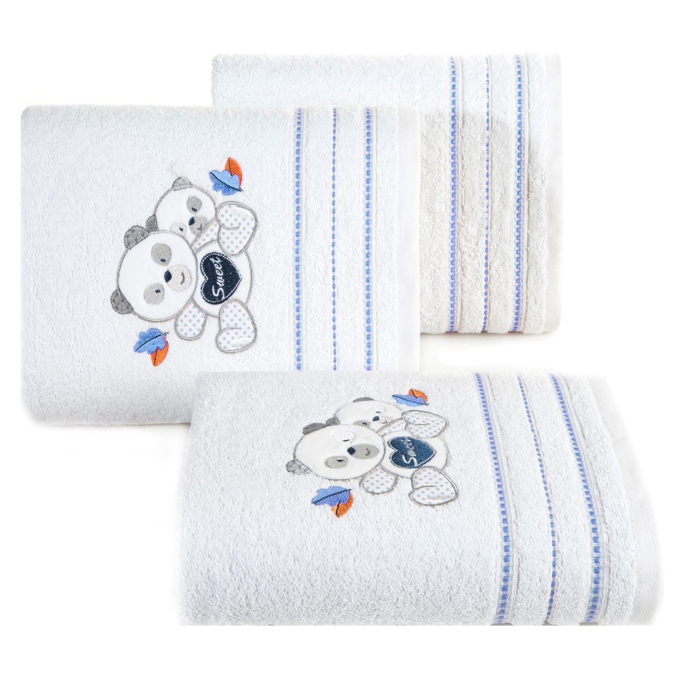 Ręcznik dziecięcy kąpielowy misie biały niebieski 50x90