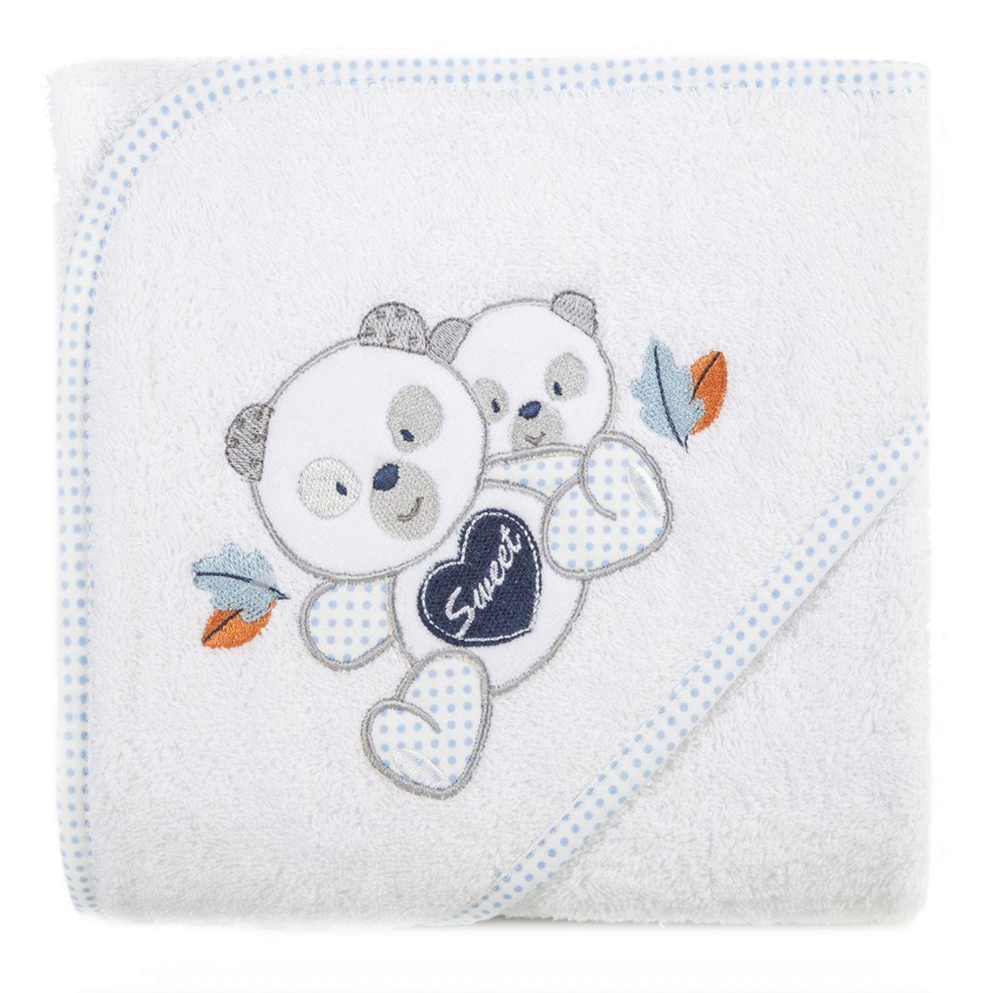 Ręcznik dziecięcy kąpielowy z kapturem misie biały niebieski 75x75