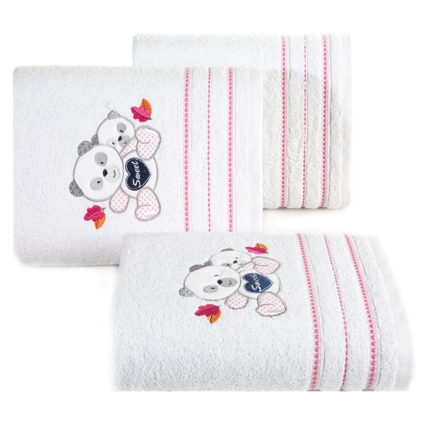 Ręcznik dziecięcy kąpielowy misie biały różowy 50x90