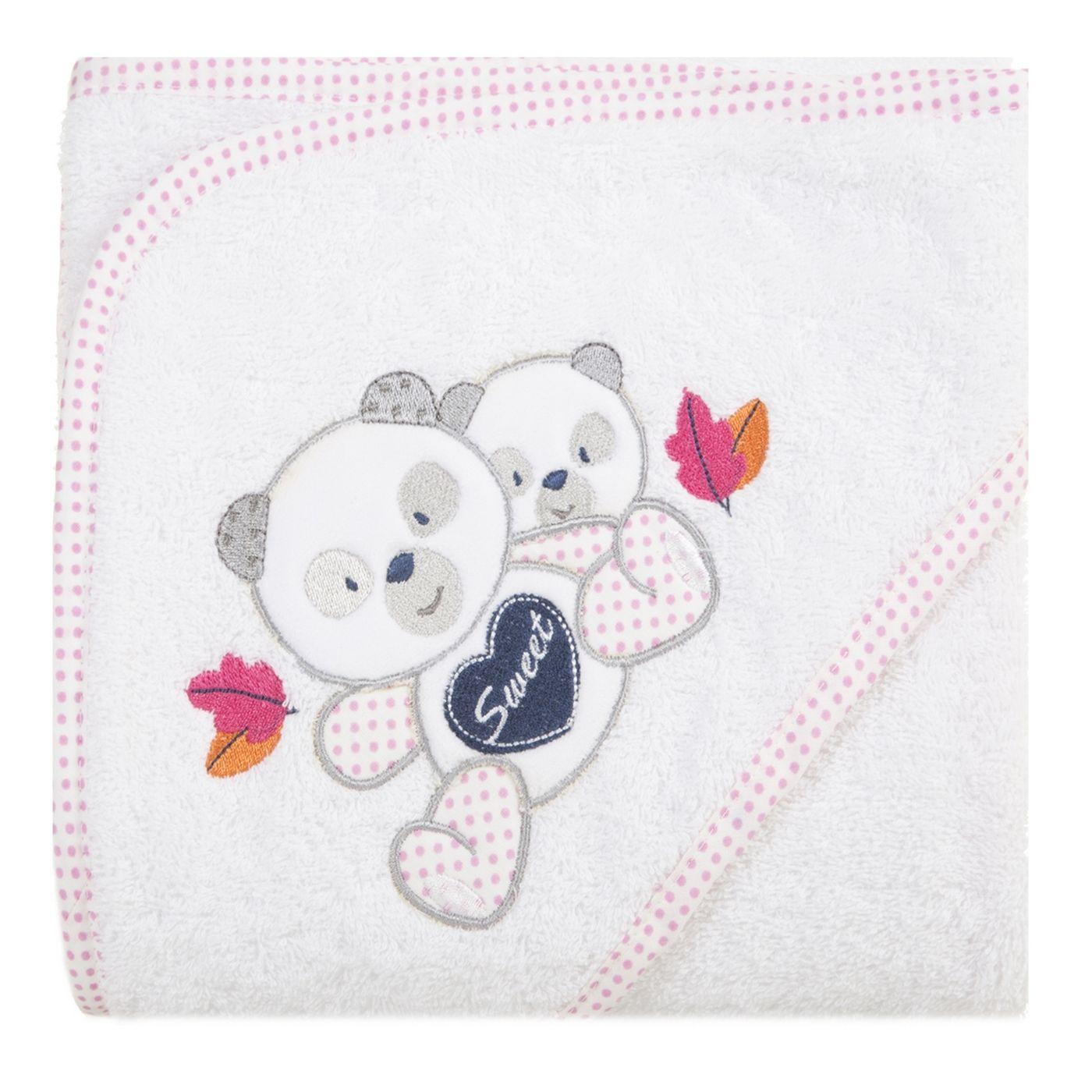 Ręcznik dziecięcy kąpielowy z kapturem misie 75x75