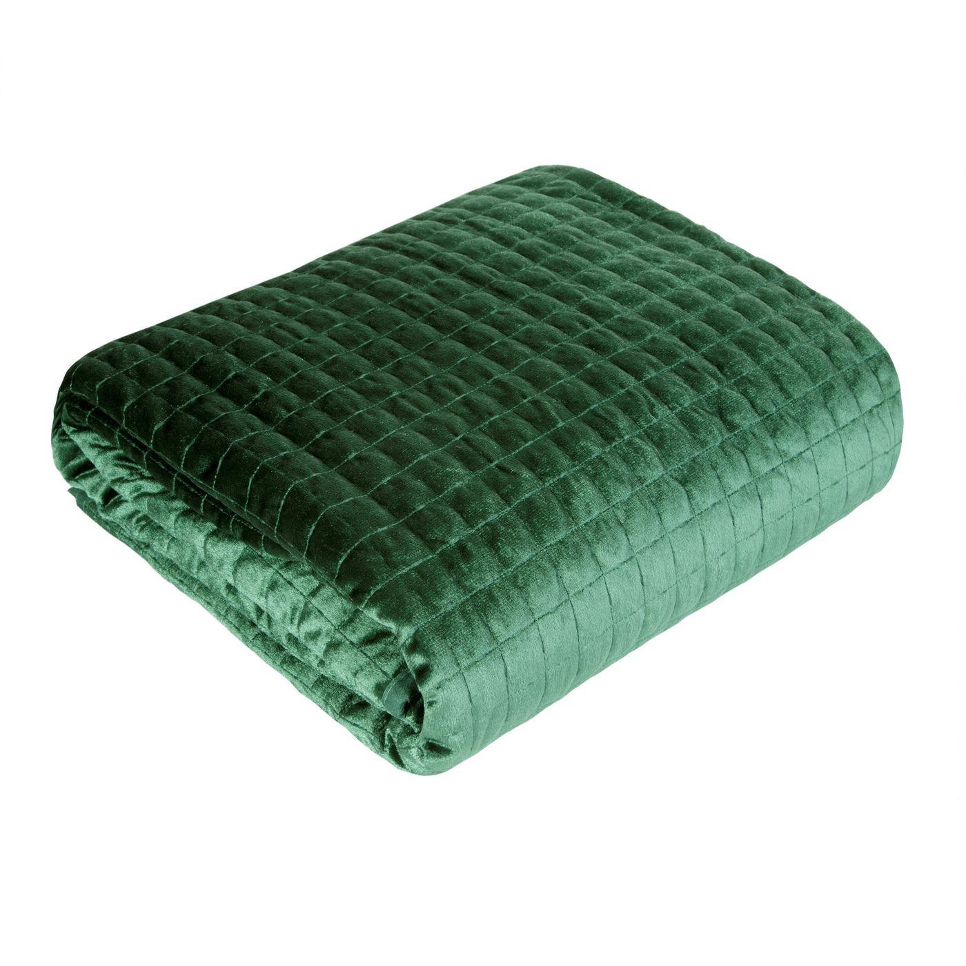 Welwetowa narzuta pikowana ciemno zielona 170x210 cm