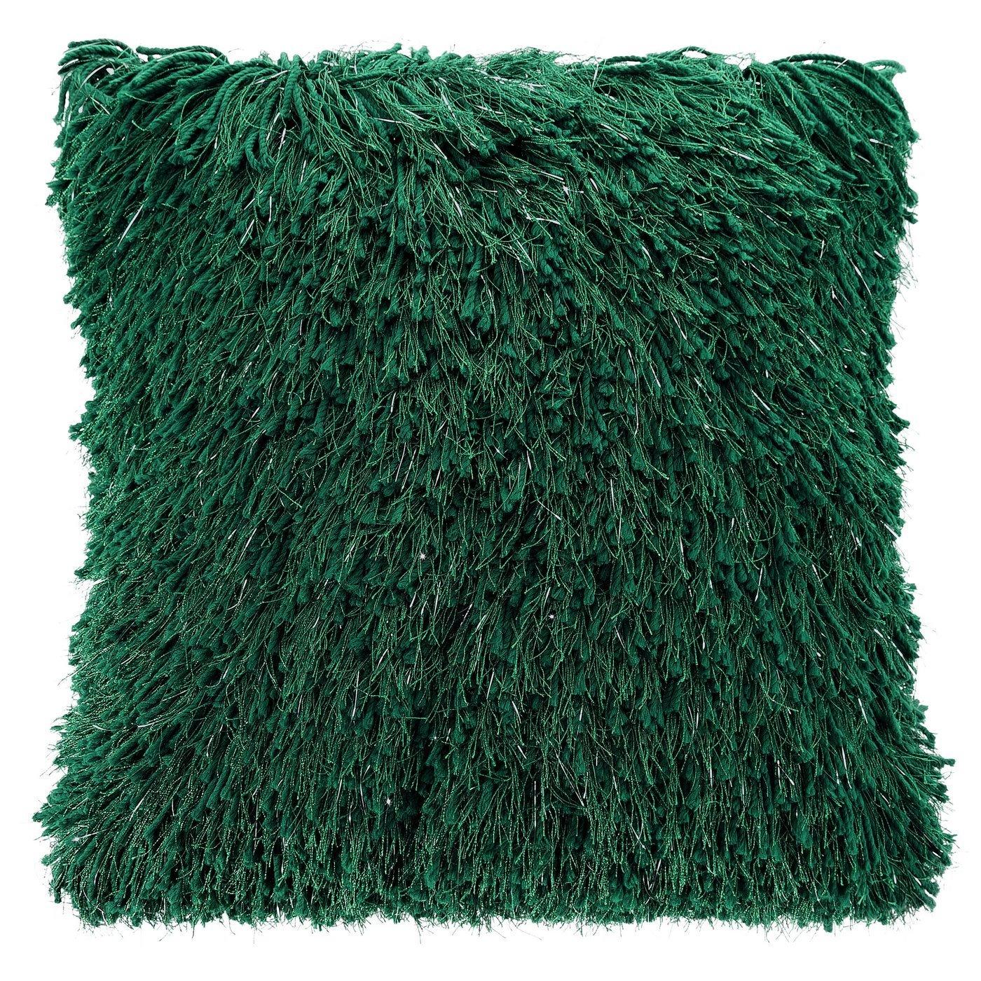 Zielona POSZEWKA FUTERKOWA ze srebrną nicią 40x40 cm