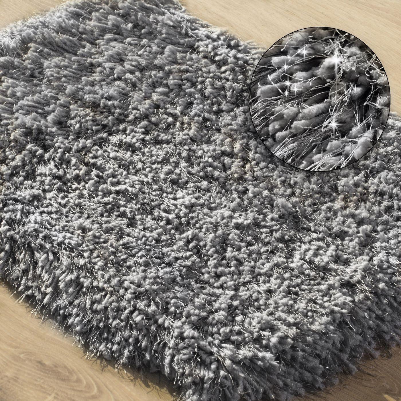 Ozdobny dywanik z błyszcząca nicią stalowy szary 60x90 cm