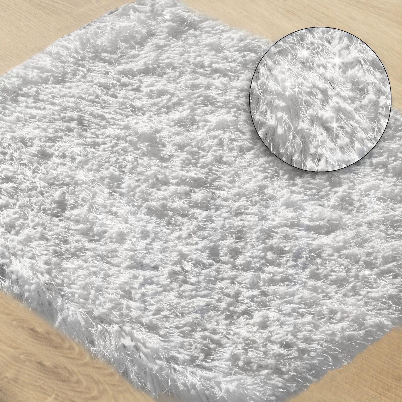 Ozdobny dywanik z błyszcząca nicią biały 50x70 cm