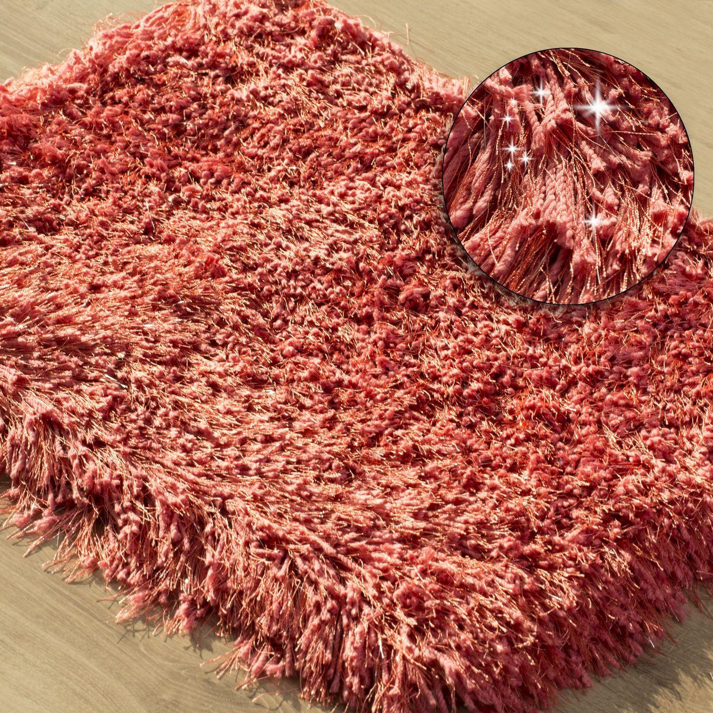 Ozdobny dywanik z błyszcząca nicią koralowy 60x90 cm