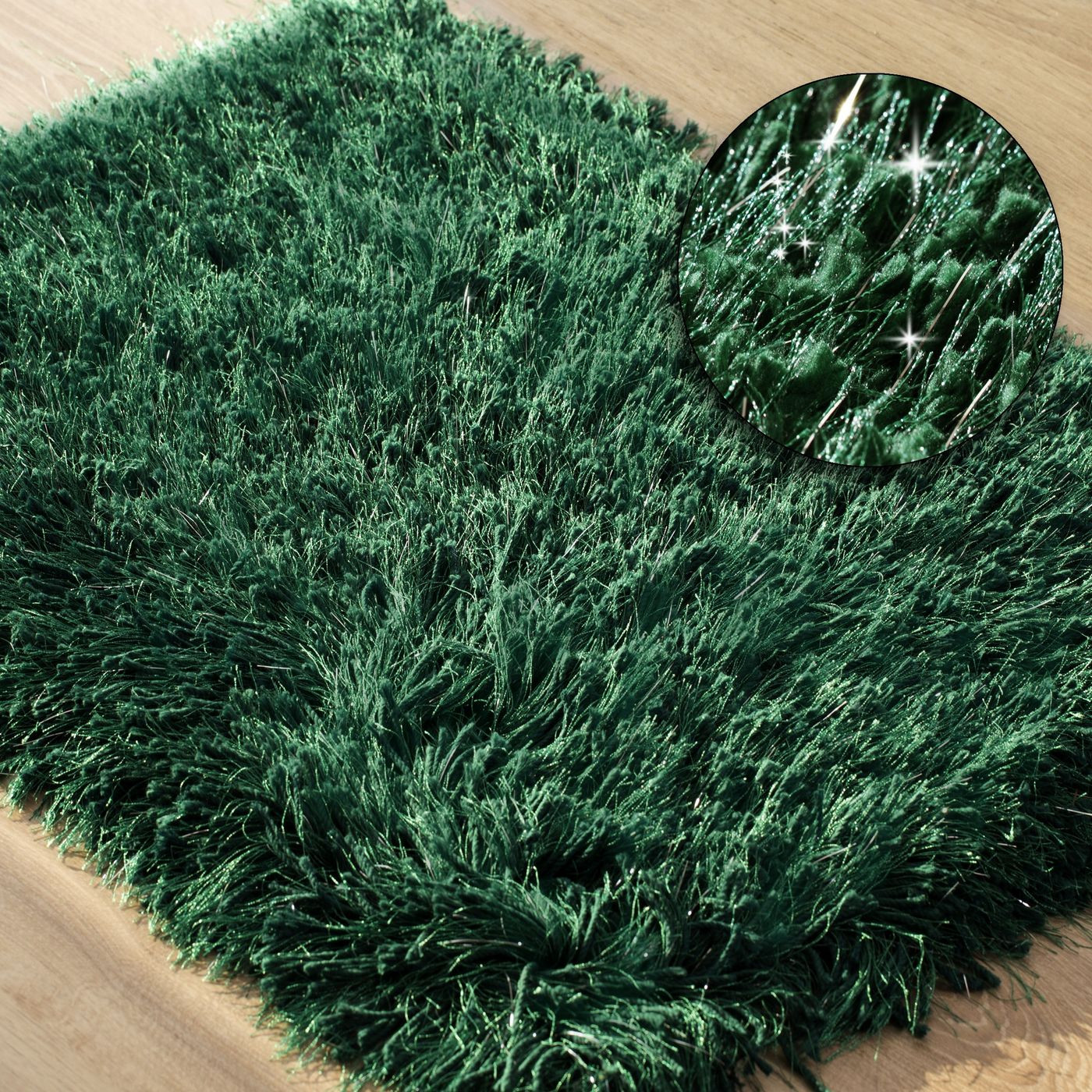 Ozdobny dywanik z błyszcząca nicią zielony 75x150 cm