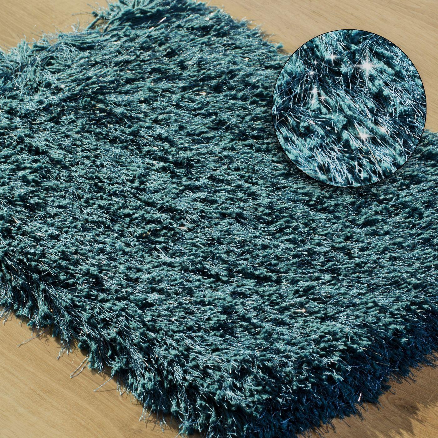 Ozdobny dywanik z błyszcząca nicią turkusowy 50x70 cm