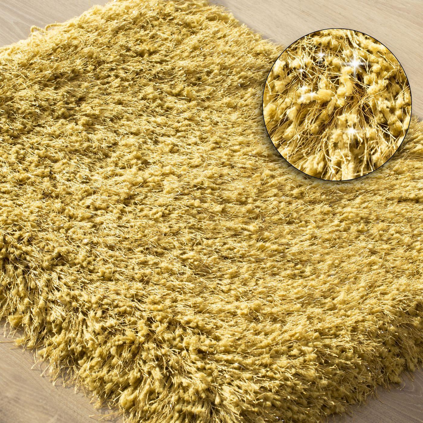 Ozdobny dywanik z błyszcząca nicią musztardowy 50x70 cm