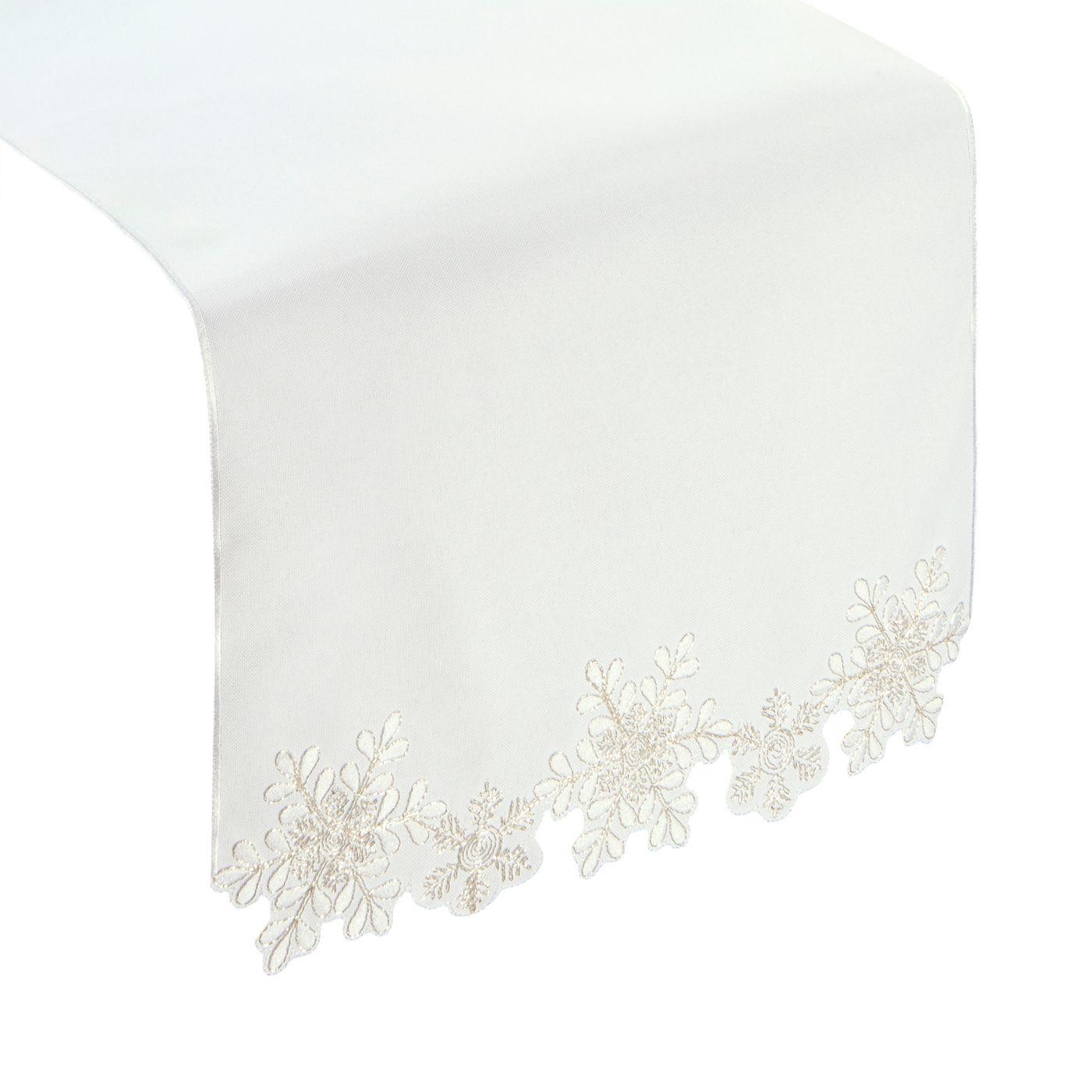 Biały haftowany bieżnik z płatkami śniegu 40x140 cm