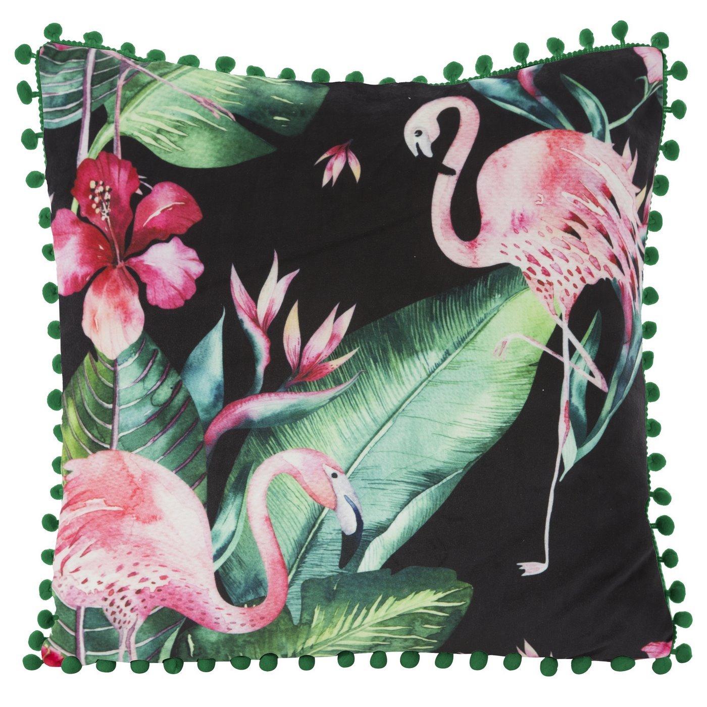 Poszewka modny wzór we flamingi z pomponikami 45x45 cm
