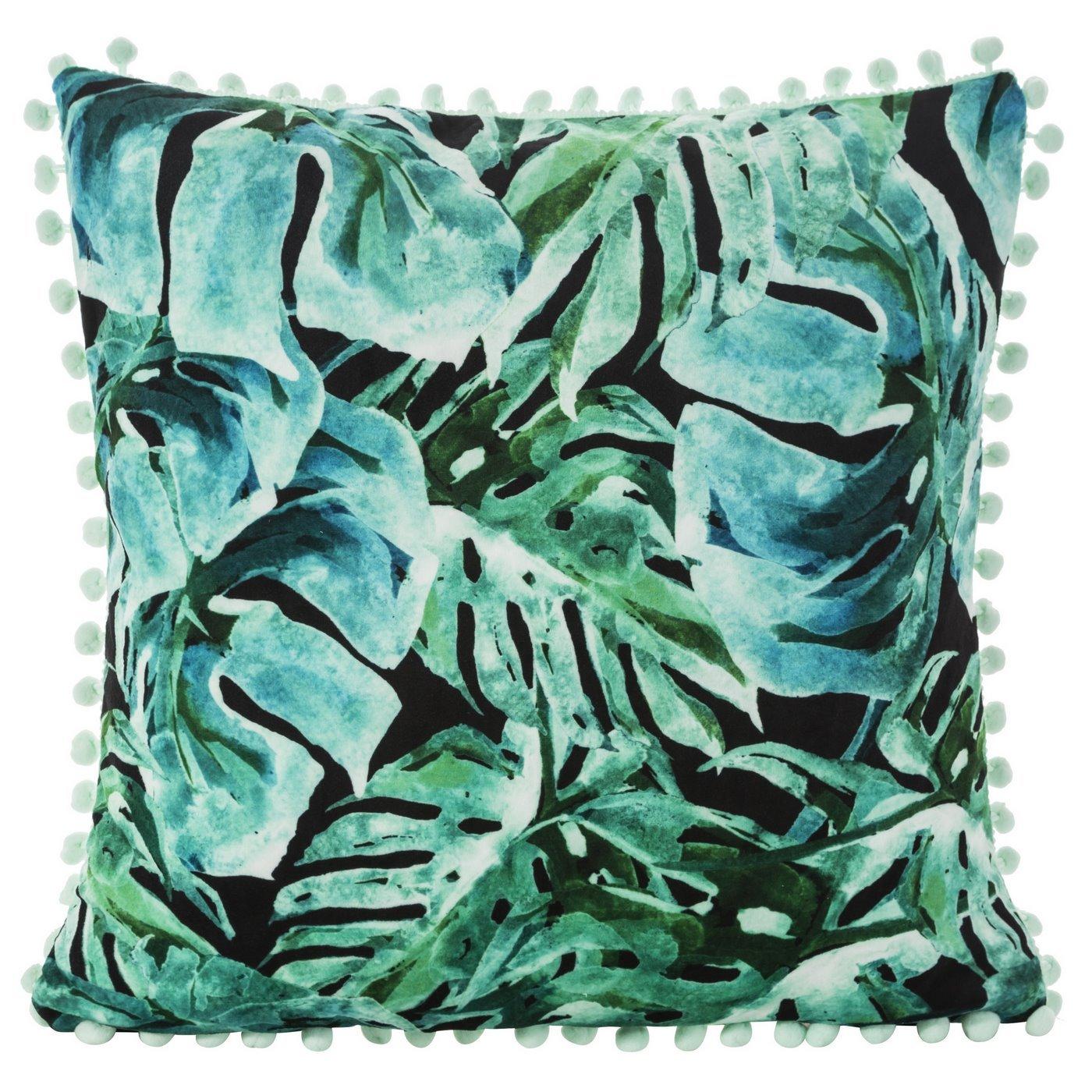 Poszewka z miękkiej tkaniny welwetowej z motywem roślinnym 45x45 cm
