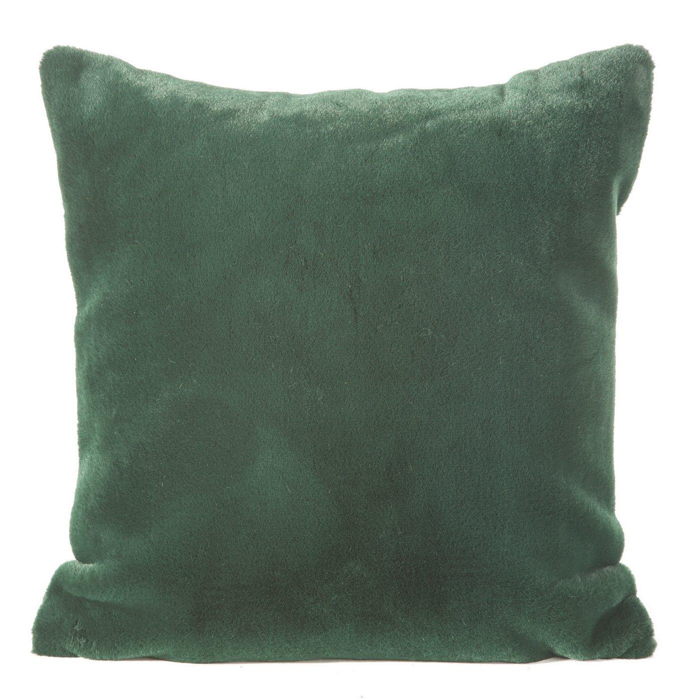 Zielona POSZEWKA OZDOBNA z krótkiego futerka 45x45cm
