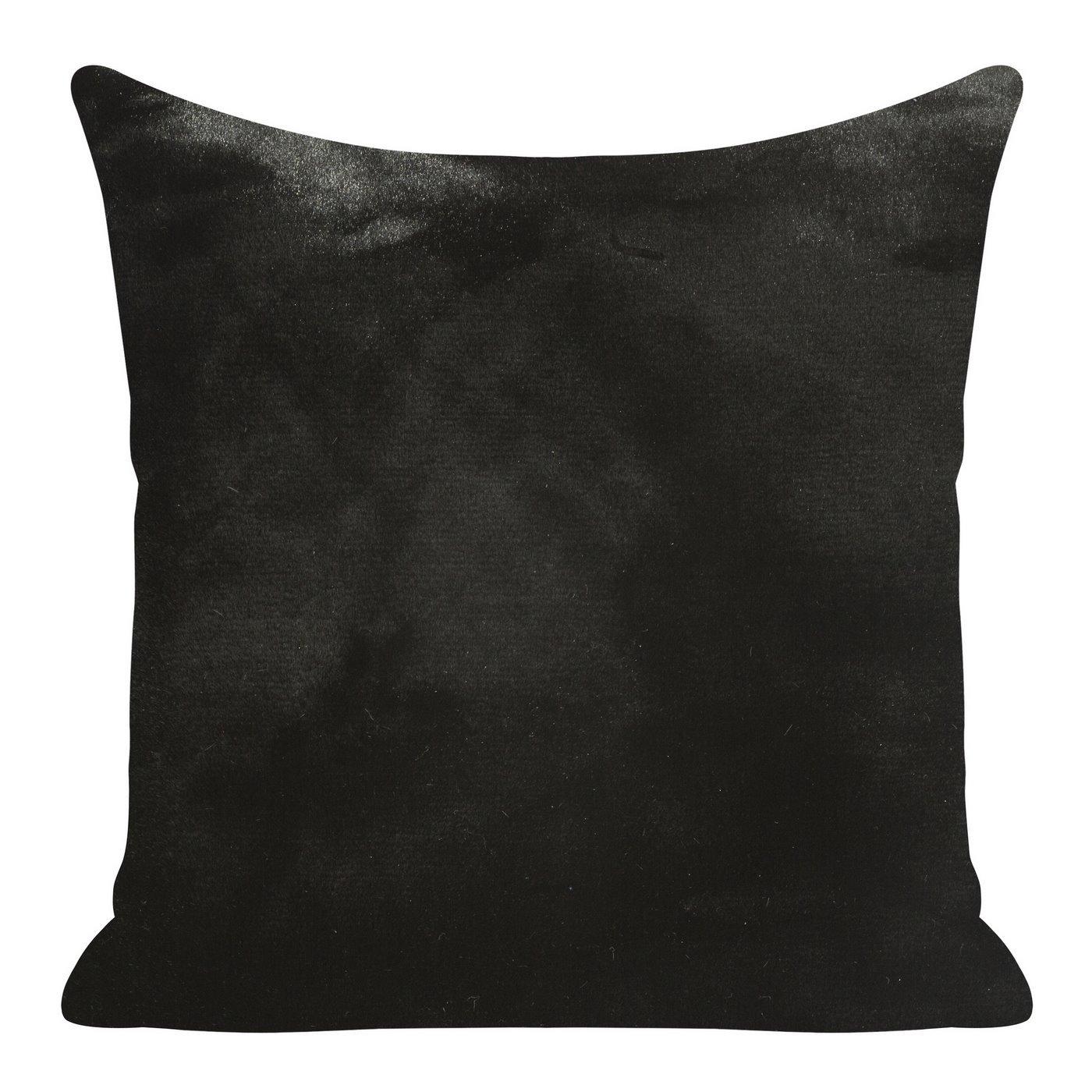 Czarna POSZEWKA OZDOBNA z krótkiego futerka 45x45cm