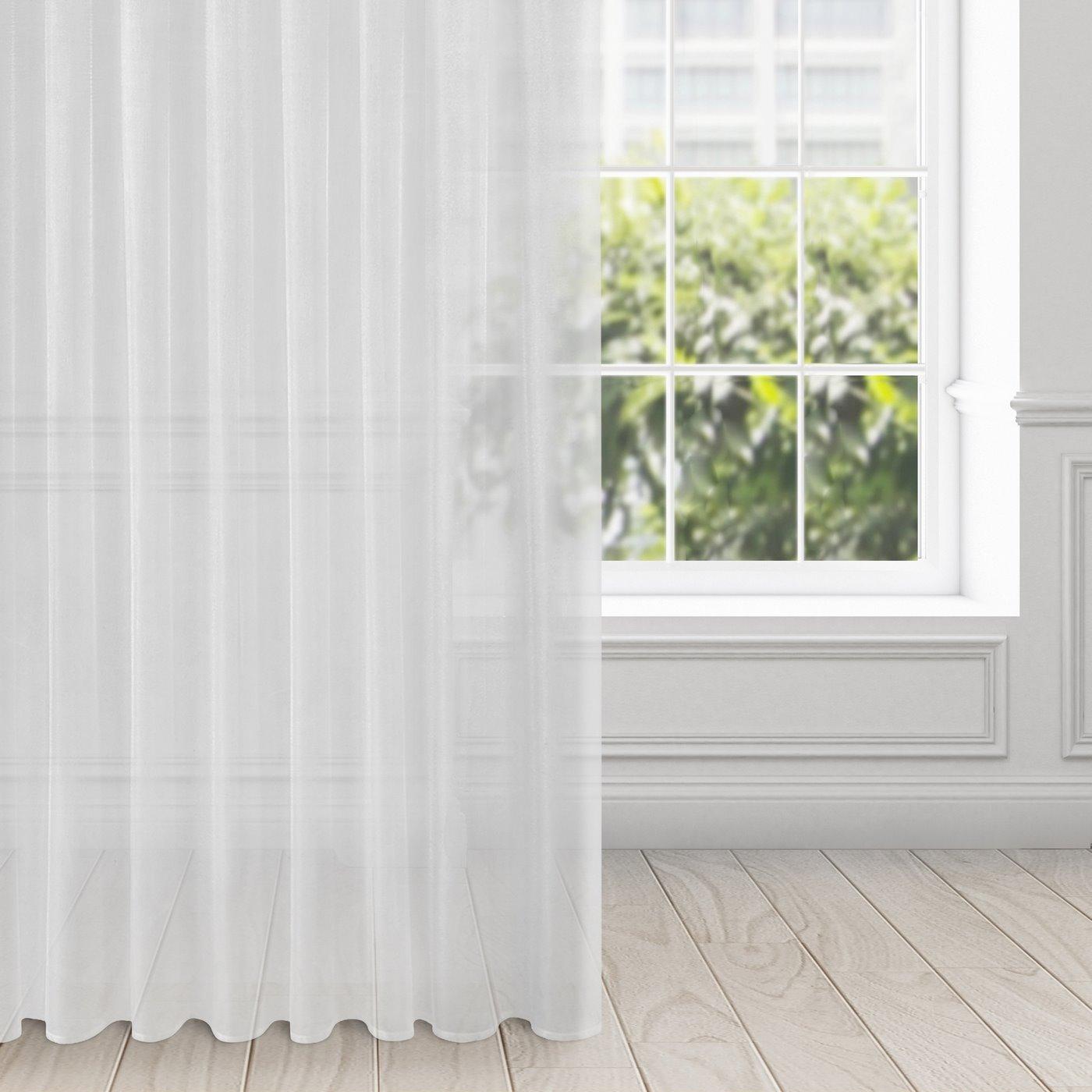 Zasłona zwiewna biała taśma 135x270 cm