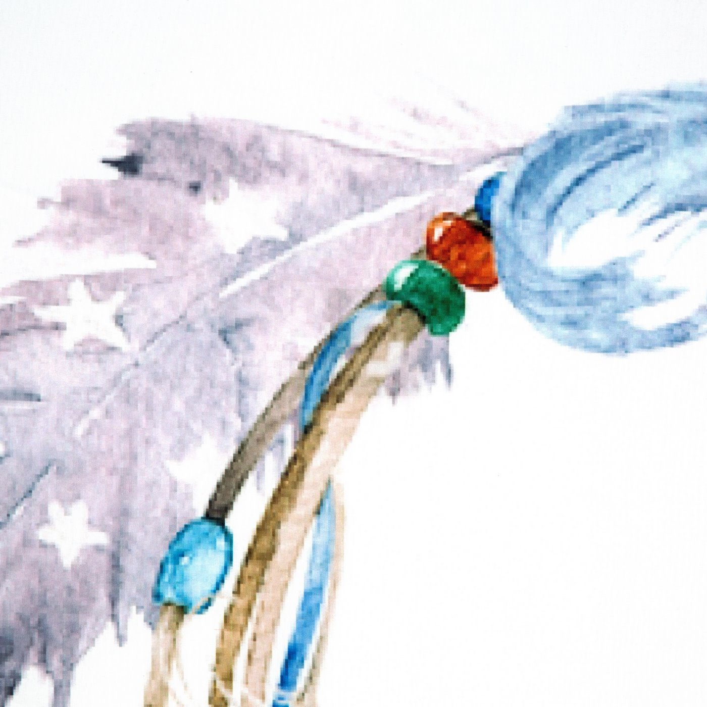 Komplet pościeli z MIKROFIBRY 160 x 200 cm, 2 szt. 70 x 80 cm, nadruk kolorowe pióra