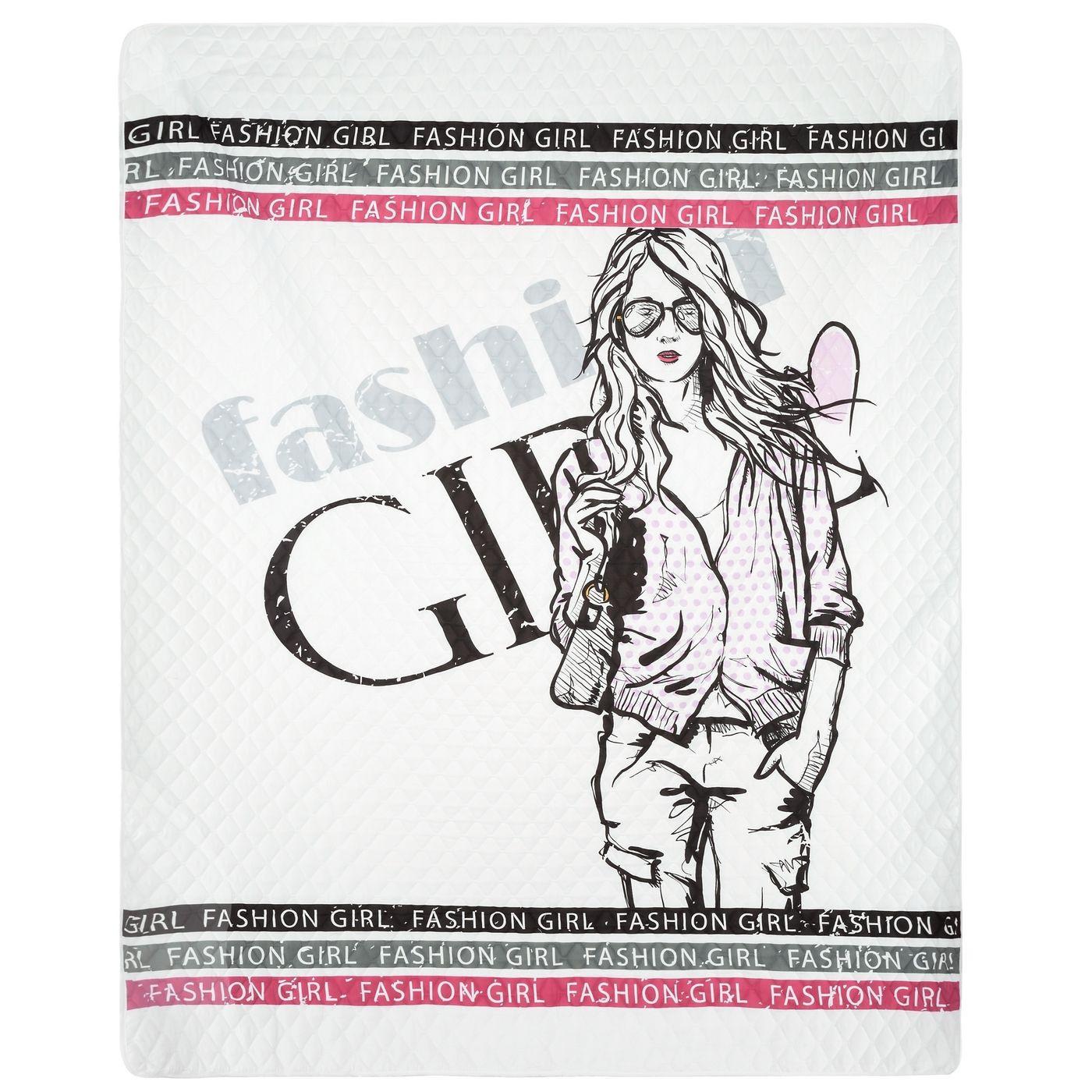 Młodzieżowa narzuta z modną grafiką 200x220 cm
