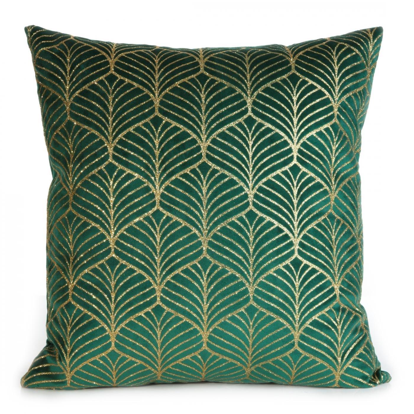 Zielona POSZEWKA WELWETOWA z geometrycznym złotym wzorem 45x45 cm