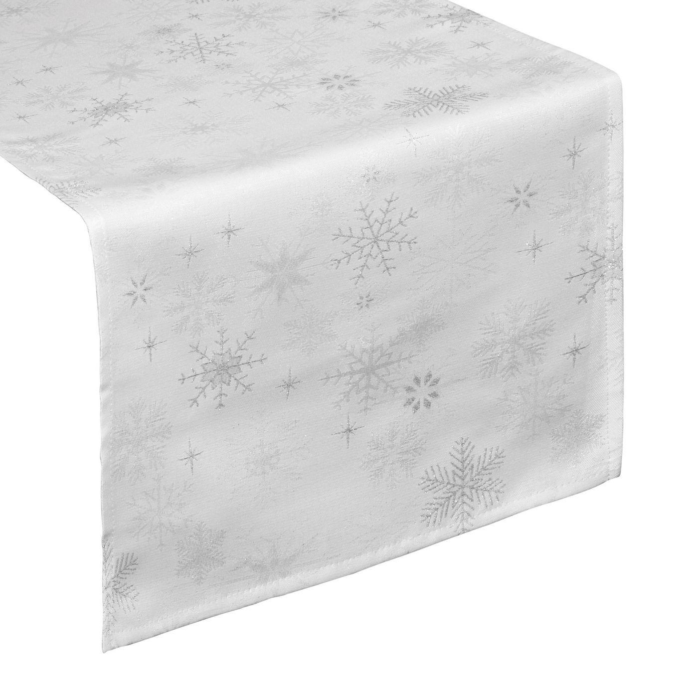 Biały ŻAKARDOWY BIEŻNIK ZE SREBRNĄ NITKĄ w gwiazdki 35x140 cm
