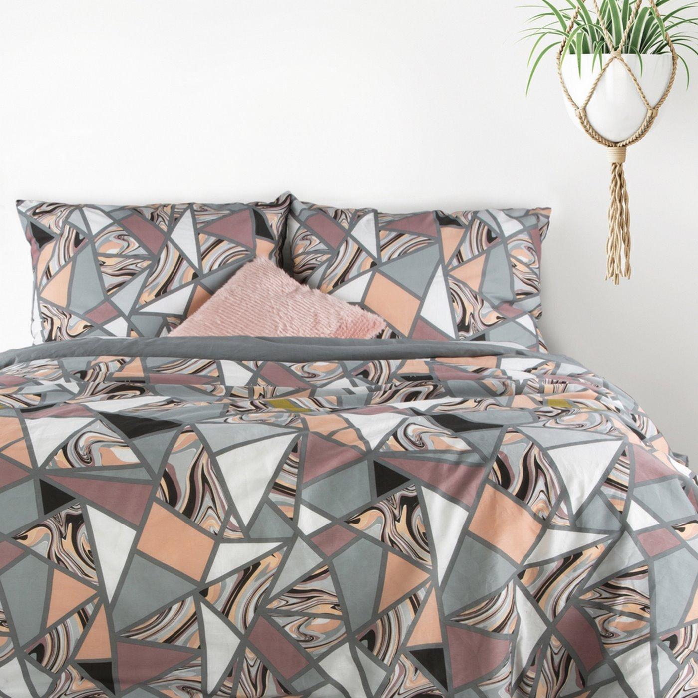 Komplet pościeli bawełnianej marble 160x200 2szt 70x80 styl nowoczesny