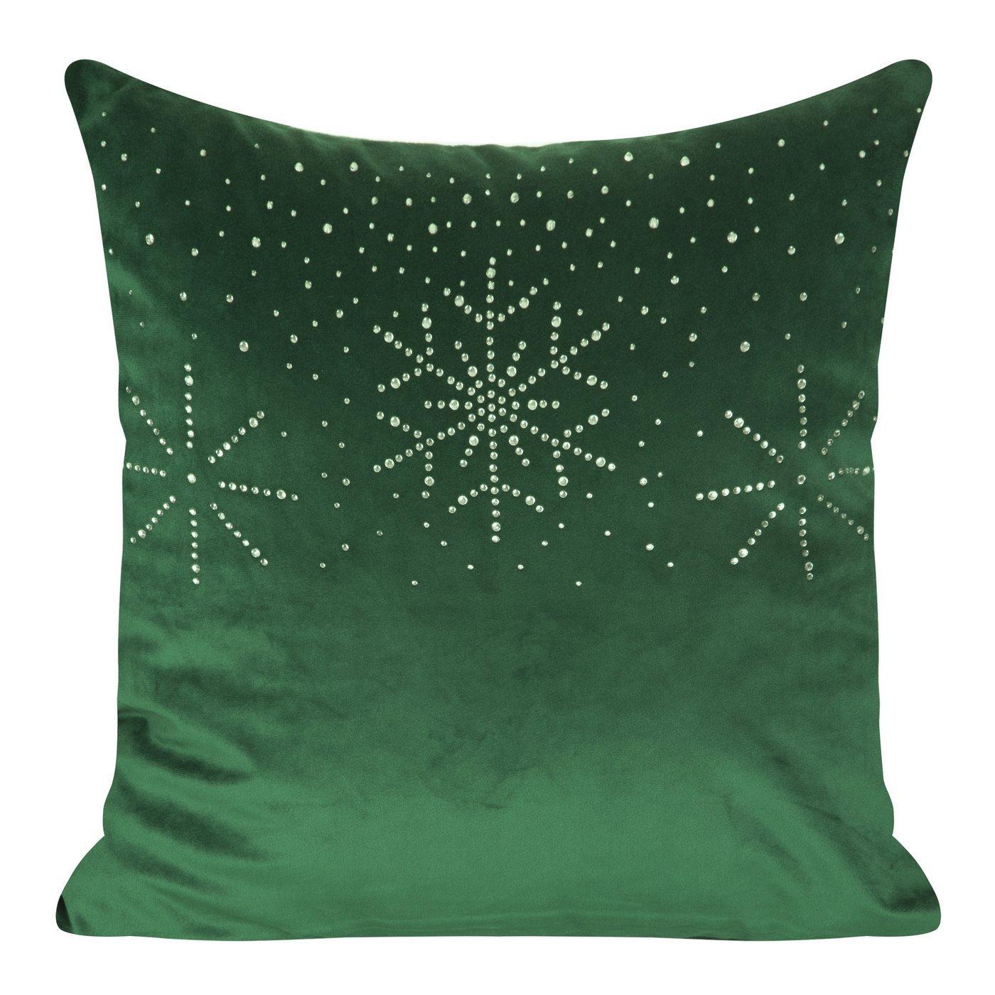 Poszewka welwetowa z kryształami i śnieżynkami 45x45 cm zielona