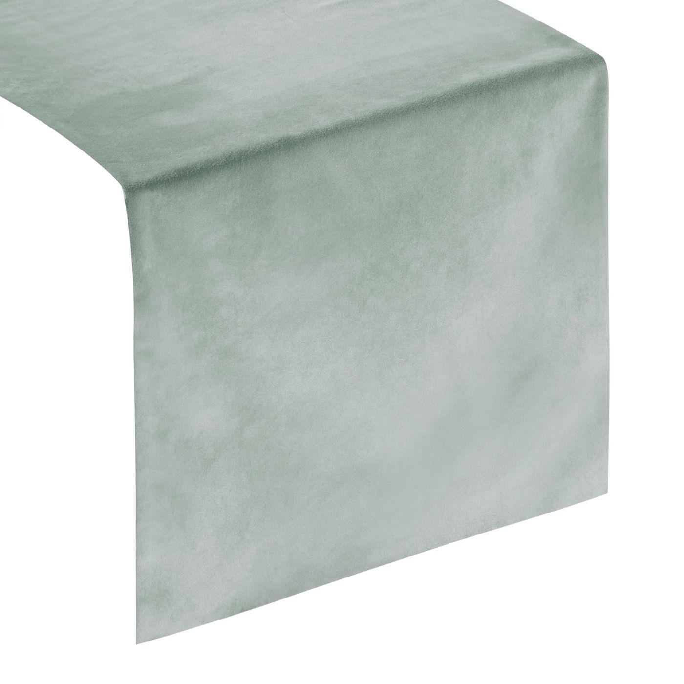 Srebrny szary bieżnik z welwetu do jadalni 35x140 cm