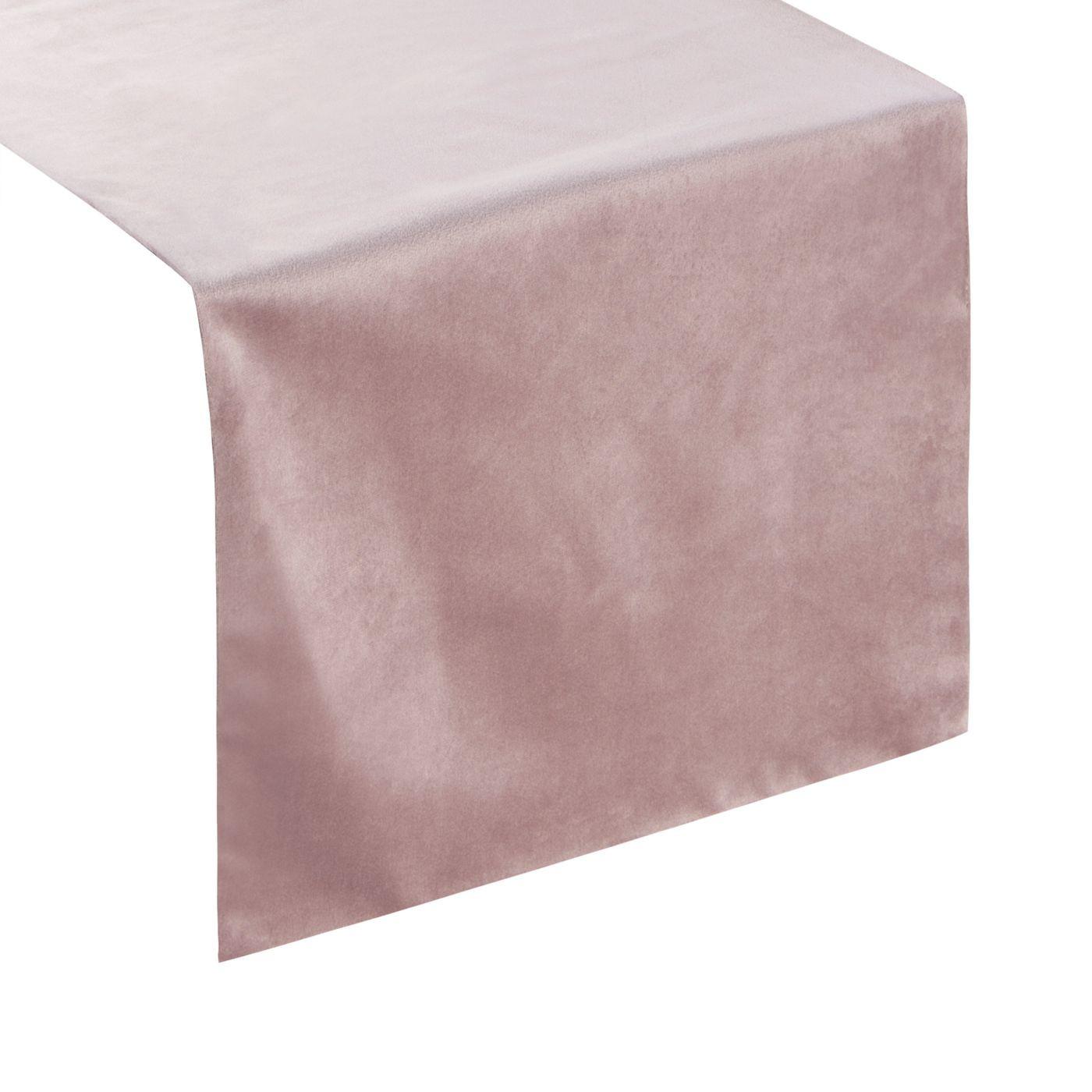 Pudrowy różowy bieżnik z welwetu do jadalni 35x140 cm