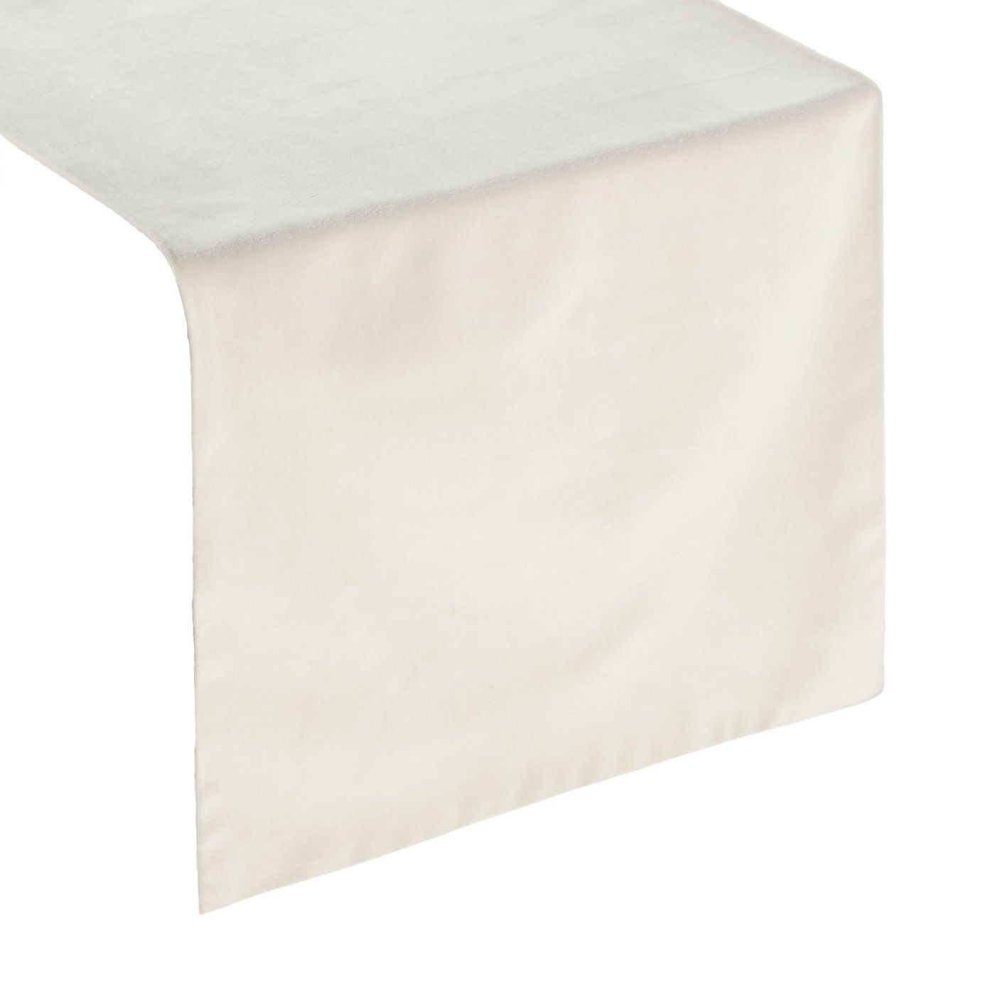 Kremowy bieżnik z welwetu do jadalni 35x140 cm