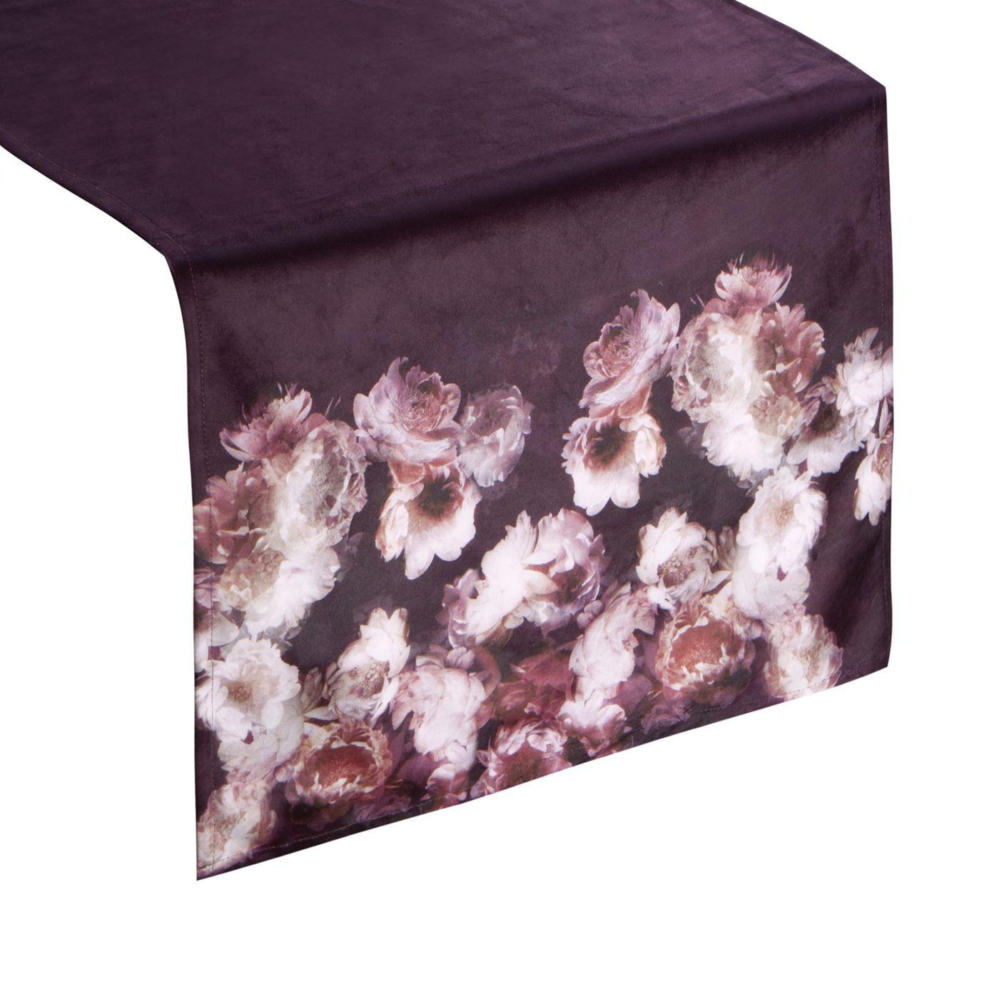 Bordowy bieżnik z welwetu nadruk kwiaty 40x140 cm