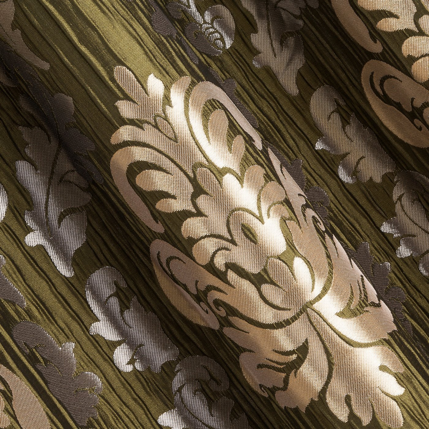 Zasłona z ornamentowy wzór zielony+złoty przelotki 132x245cm