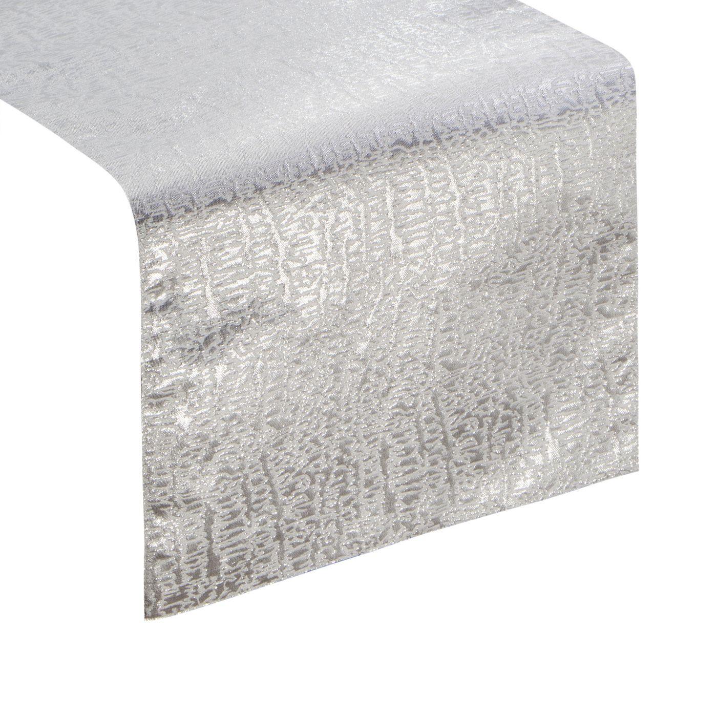 Biały bieżnik na stół ze srebrnym wzorem 35x140 cm