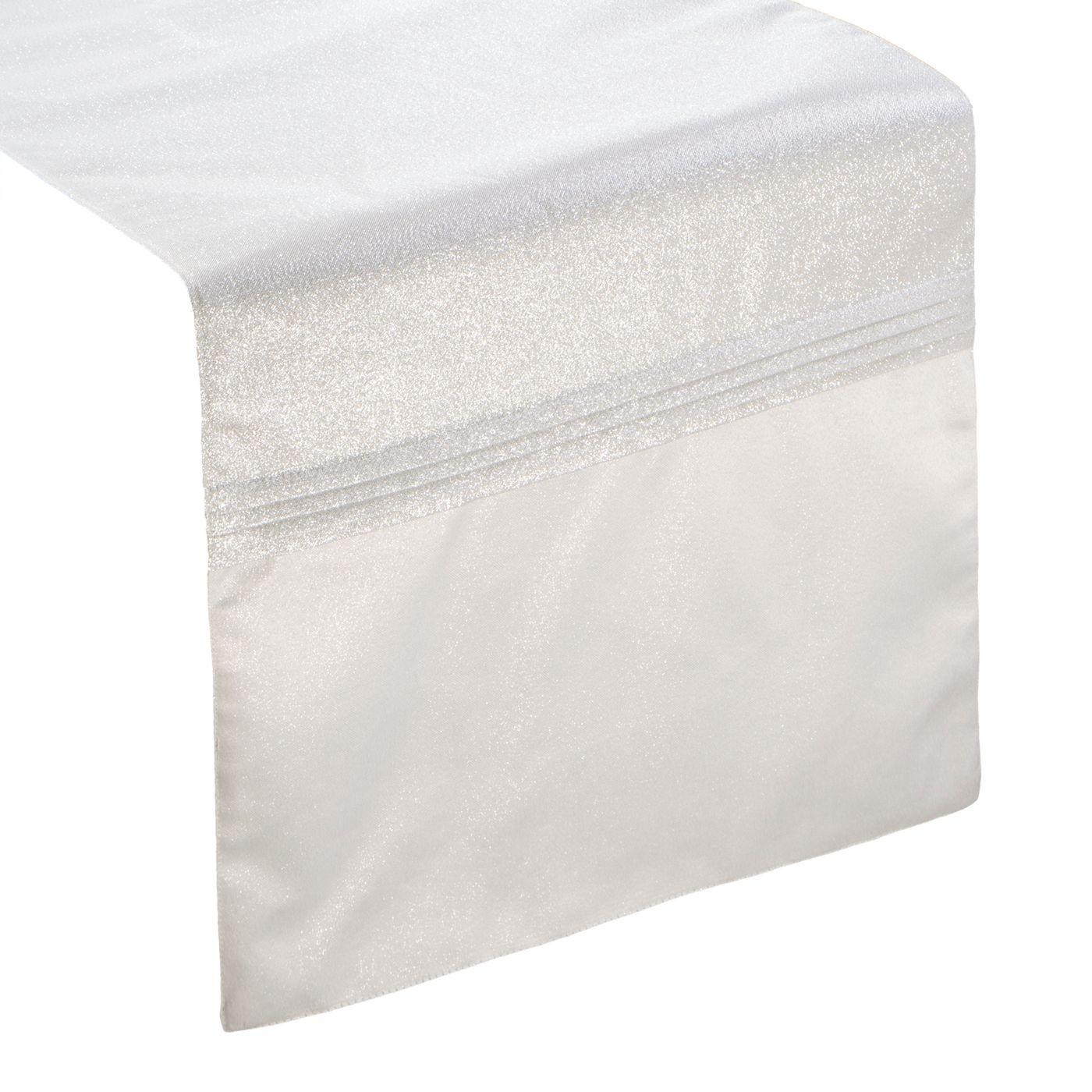 Biały bieżnik do jadalni błyszczący lureks 35x140 cm