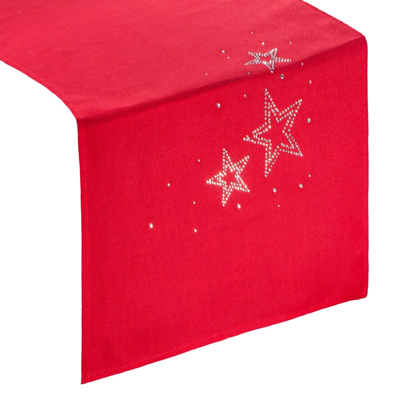 Czerwony BIEŻNIK ŚWIĄTECZNY z choinką z cyrkonii 40x140 cm