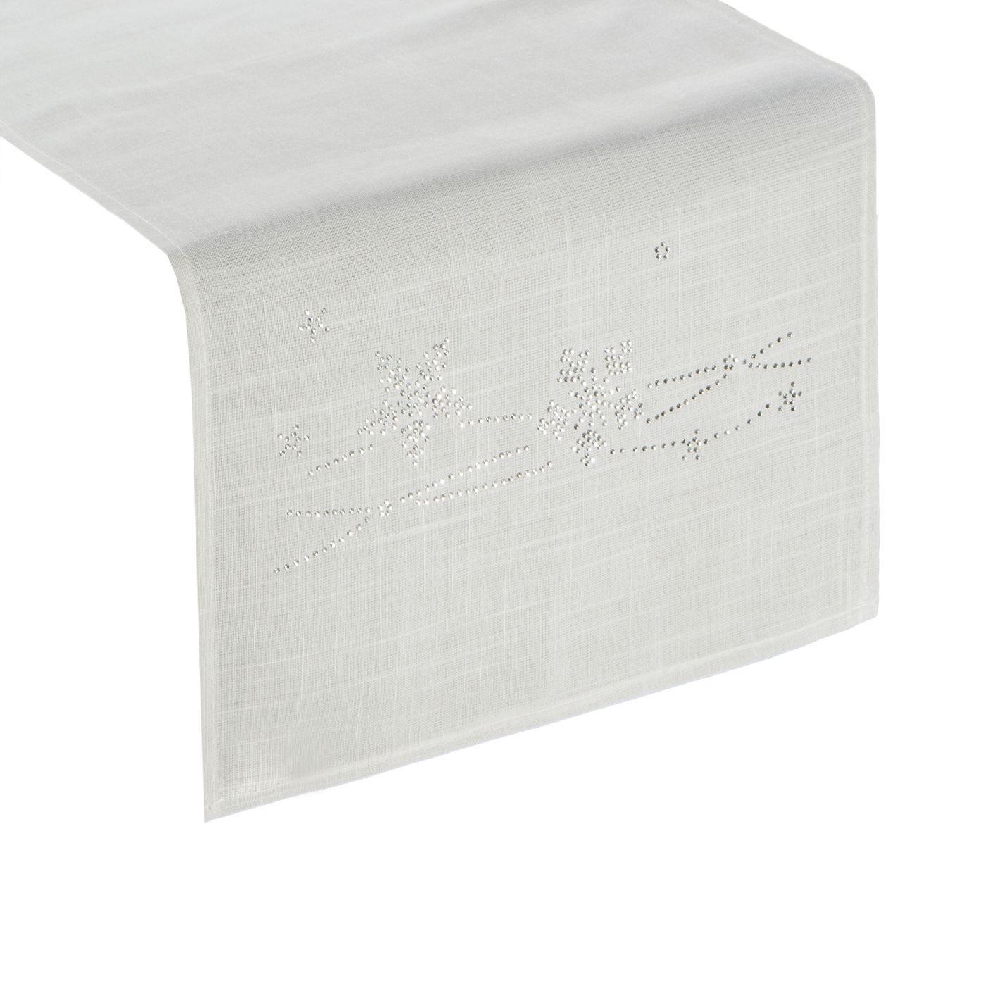 Dekoracyjny bieżnik cekiny płatki śniegu 40x140cm