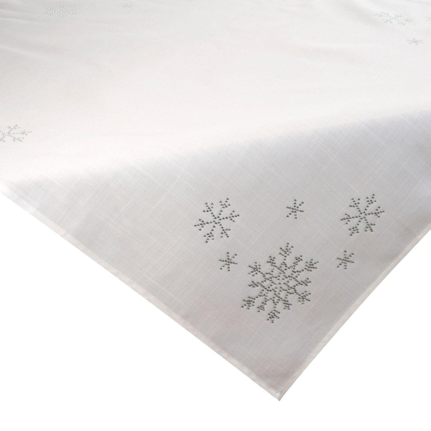 Kremowy obrus świąteczny z kryształkami 85x85 cm