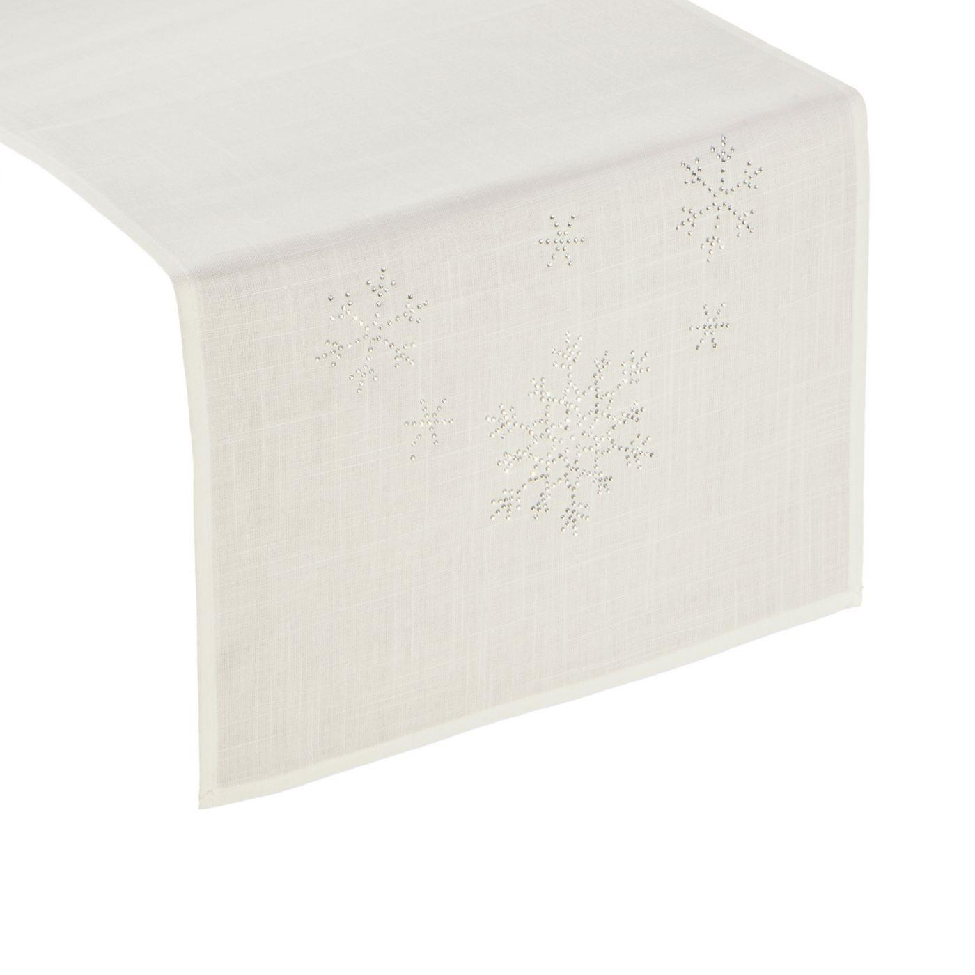 Kremowy bieżnik świąteczny z kryształkami 40x140 cm