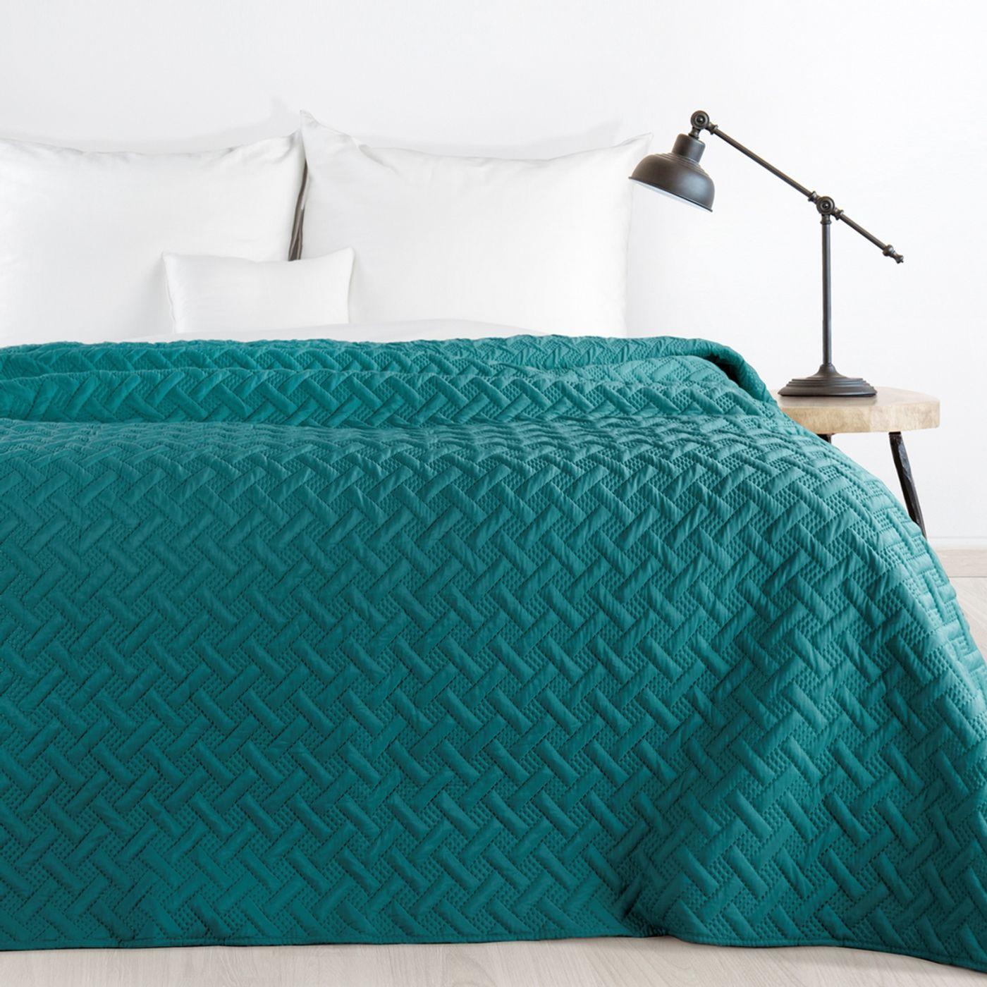 Elegancka turkusowa pikowana narzuta geometryczny wzór 220x240 cm