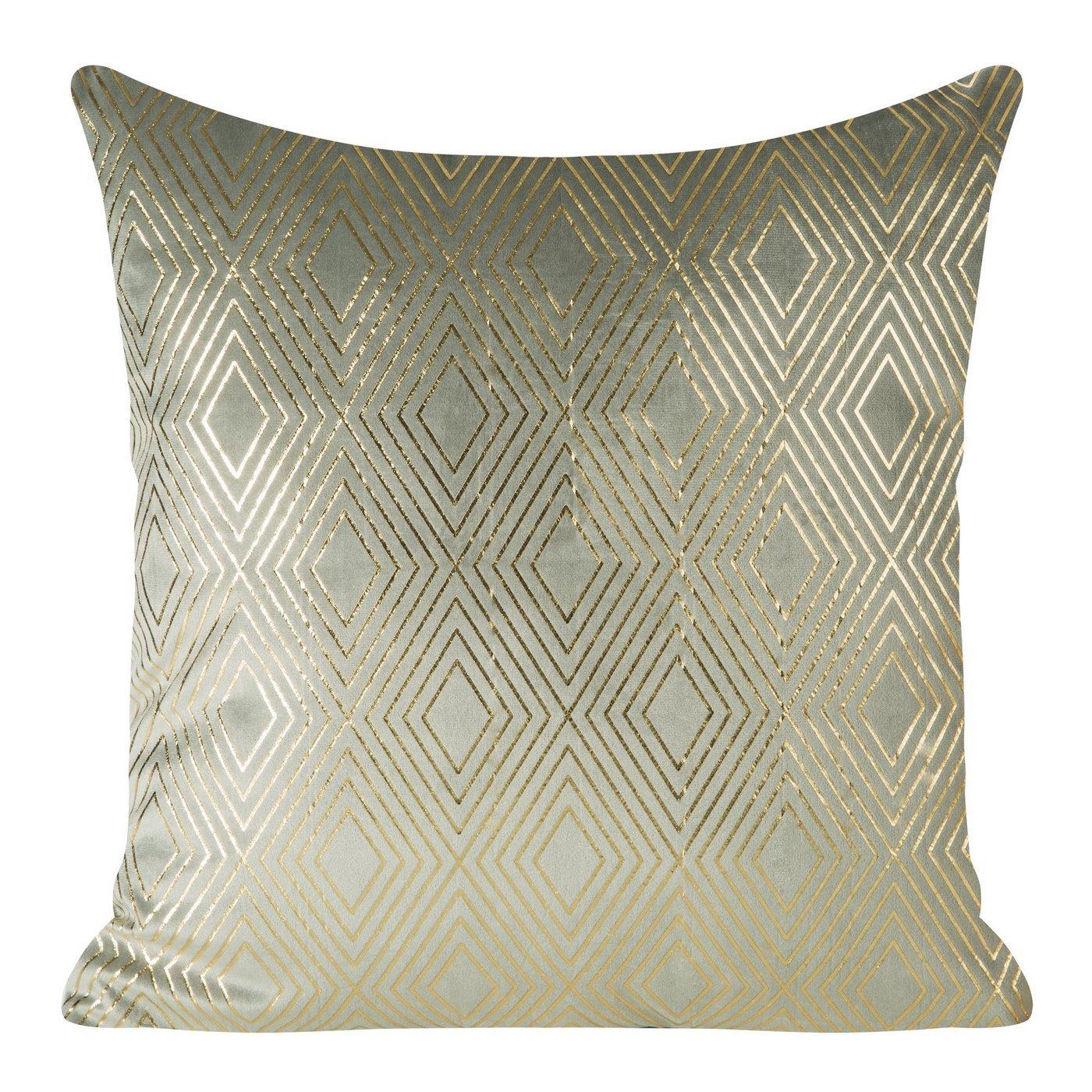Poszewka ze srebrnego welwetu ze złotym wzorem 45x45 cm