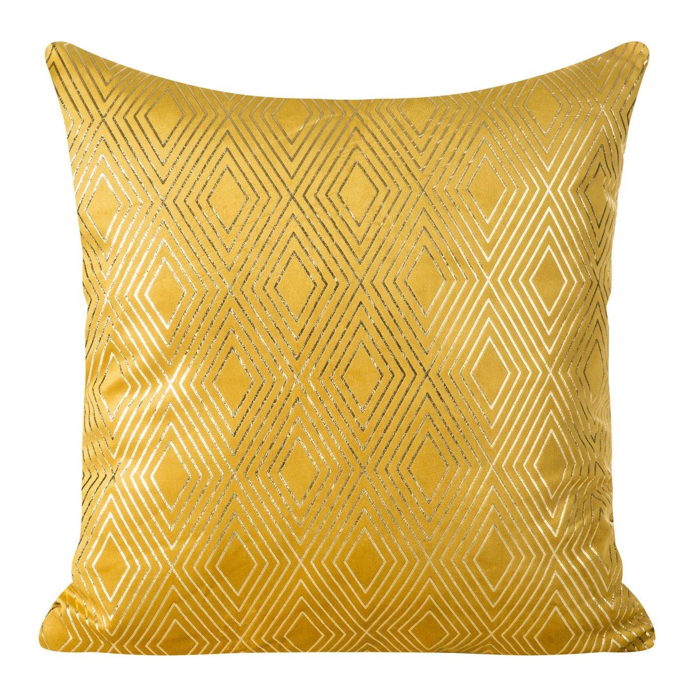 Poszewka z musztardowego welwetu ze złotym wzorem 45x45 cm