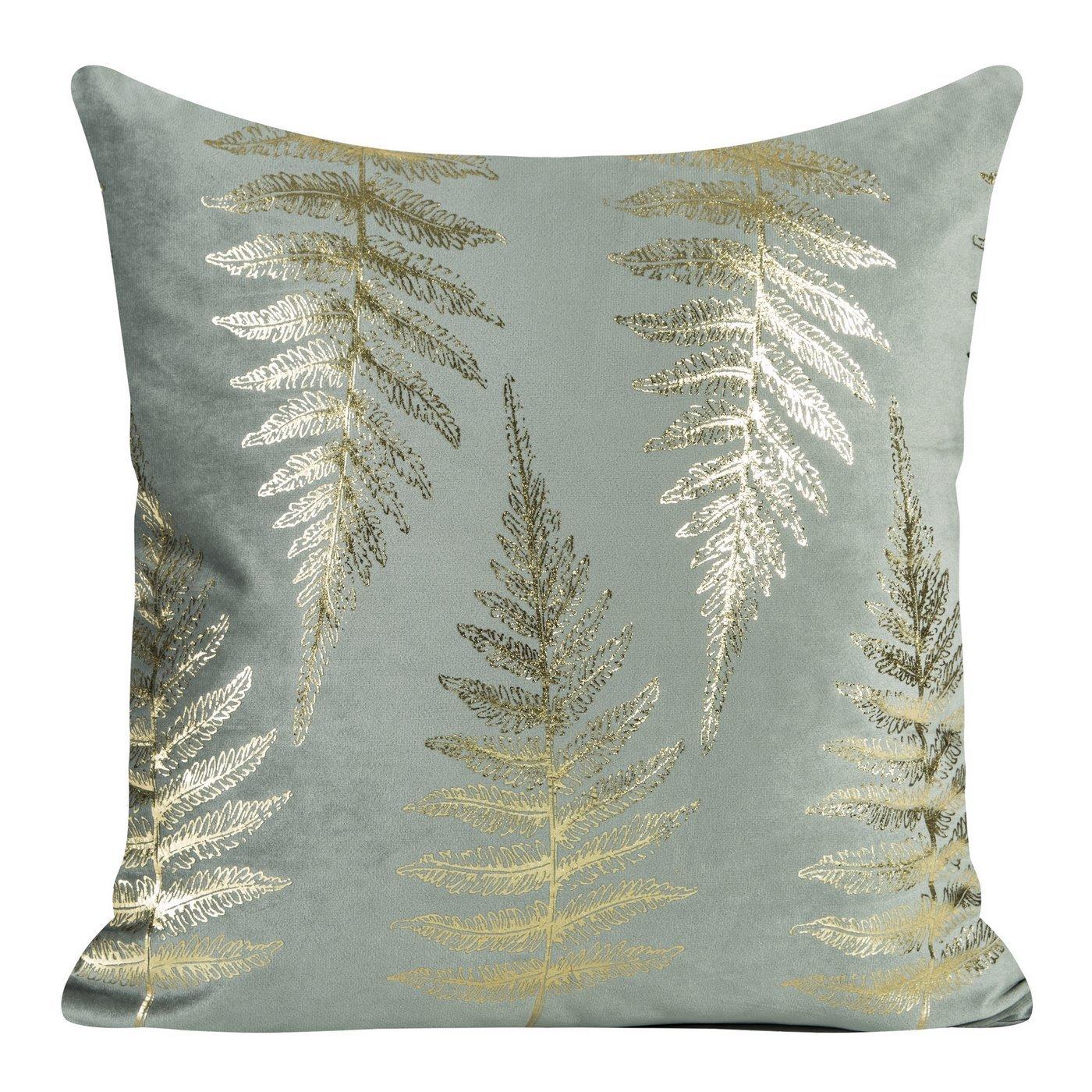 Ozdobna szara poszewka z motywem złotych paproci 45x45 cm