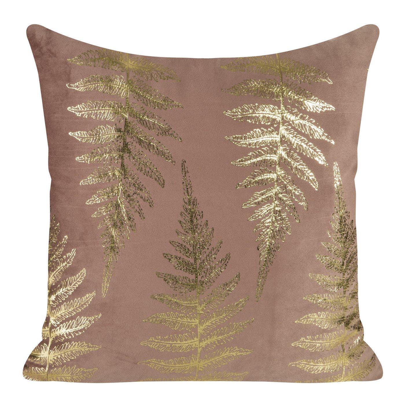 Ozdobna różowa poszewka z motywem złotych paproci 45x45 cm